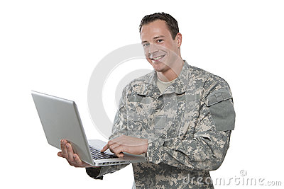 Military Soldier With A Laptop