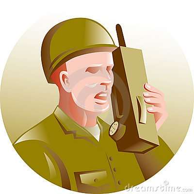 Military soldier talking radio