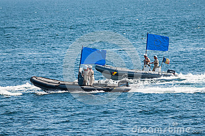 Military speed boats European Union flag Editorial Photo