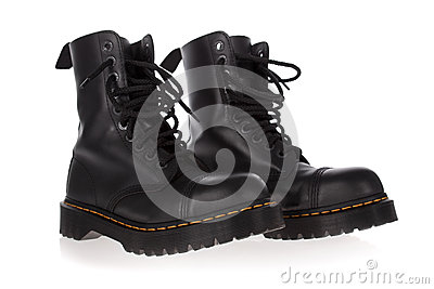 Military style black boots isolated