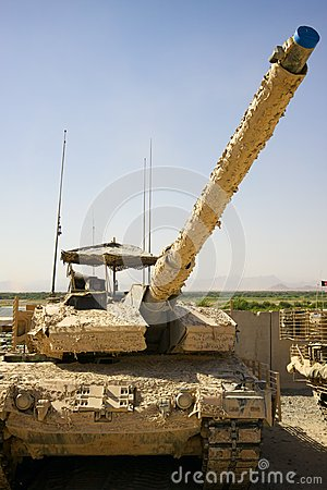 Free Military Tank In A Motor Pool In Afghanistan. Royalty Free Stock Image - 35236296