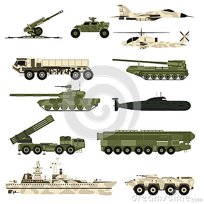 Free Military Technic Icon Set And Armor Tanks Flat Vector Illustration. Royalty Free Stock Photography - 68478897