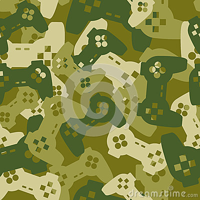 Military texture from gaming joysticks. Army seamless pattern ga Vector Illustration