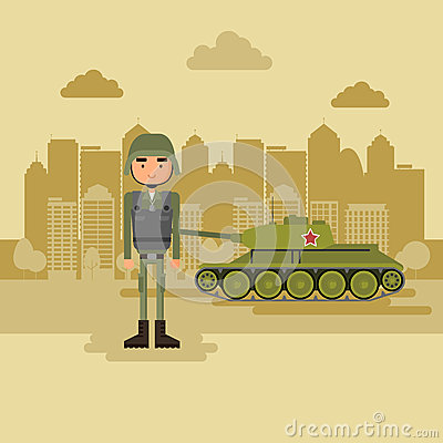 Military town in the background Stock Photo