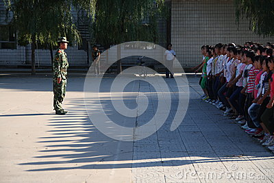 Military training for students Editorial Stock Image