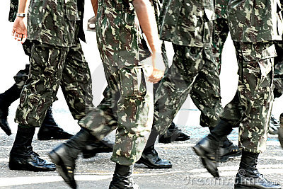 Military troops marching