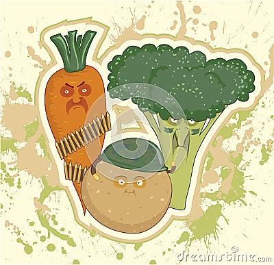 Military vegetables, potatoes, carrots, broccoli