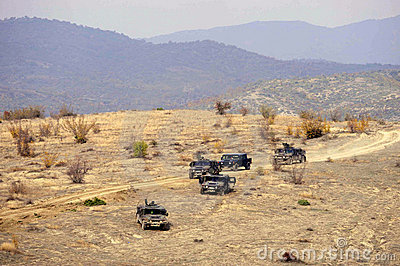 Military vehicles in action