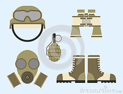 Military weapon ammunition symbols armor set forces design and american fighter ammunition navy camouflage sign vector Vector Illustration