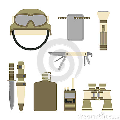 Military weapon guns symbols armor set forces design and american fighter ammunition navy camouflage sign vector Vector Illustration