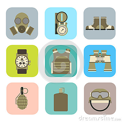 Free Military Weapon Guns Symbols Armor Set Forces Design And American Fighter Ammunition Navy Camouflage Sign Vector Stock Images - 89165554