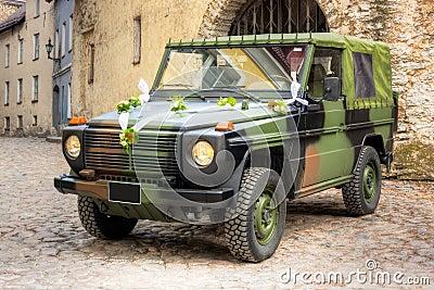 Military wedding vehicle