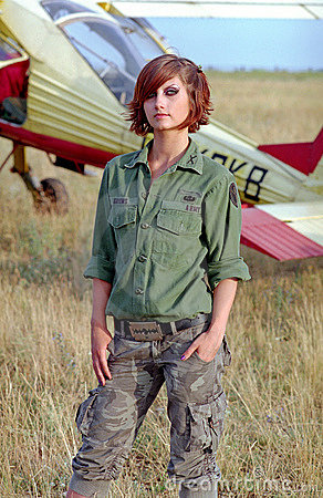 Free Military Woman On Aerodrome Stock Photo - 10340410