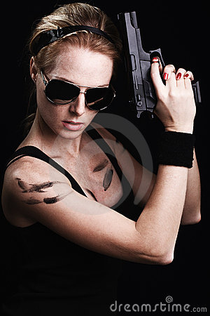 Free Military Woman Posing With Gun Royalty Free Stock Photography - 23210287