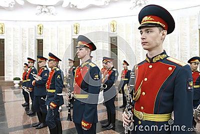 Militär orkester Redaktionell Arkivbild