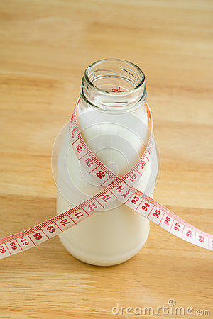 Milk bottle with tape measure