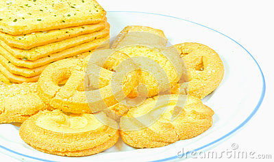 Milk butter cookies on white dish is isolate