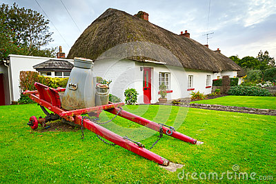 Milk cart at the cottage houses in Adare, Ireland