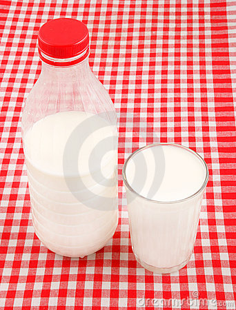Milk on checked tablecloth