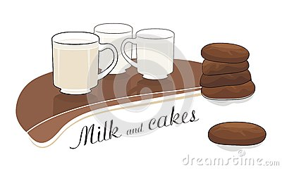Milk and chocolate cakes - vector drawing