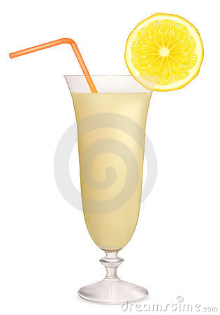 Milk cocktail with lemon. Vector