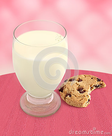Milk and Cookie with Bite Taken - Pink Background