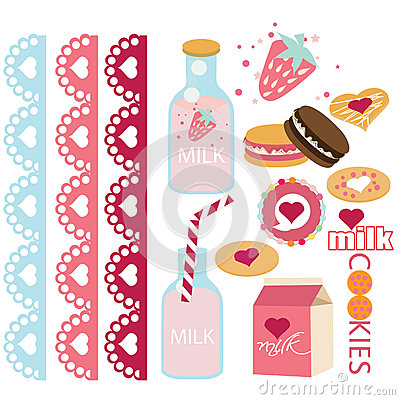 Milk and cookies laces and candies