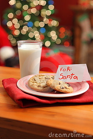 Stock Photos: Milk and cookies for Santa. Image: 11259883