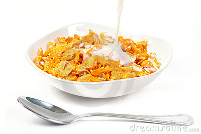 Milk with corn flakes for breakfast