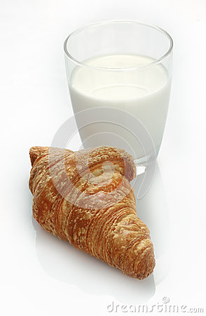 Milk and croissant snack