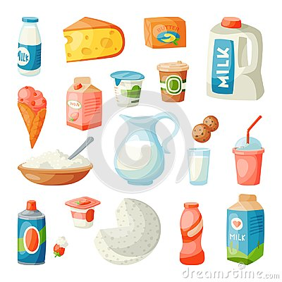 Milk dairy products in flat style breakfast gourmet organic meal fresh diet food milky drink ingredient nutrition vector Vector Illustration