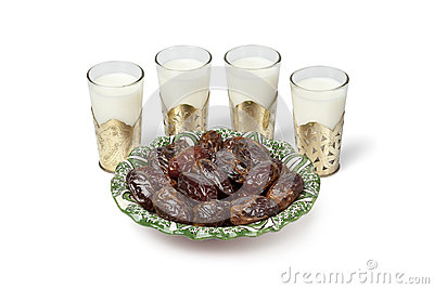 Milk and dates for Iftar meal