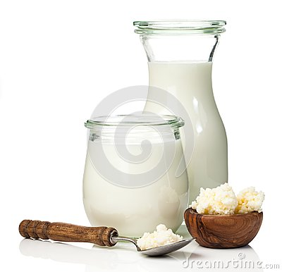 Free Milk Kefir Grains. Milk Kefir, Or Búlgaros, Stock Images - 107686204