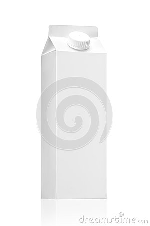 Milk package or juice pack on white background