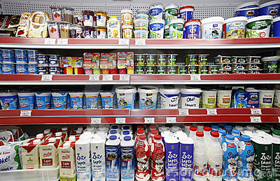 Milk products on shelves Editorial Stock Photo