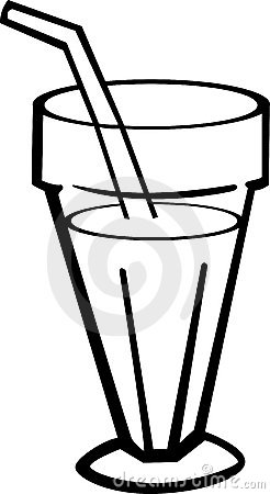 milk shake drink in glass vector illustration