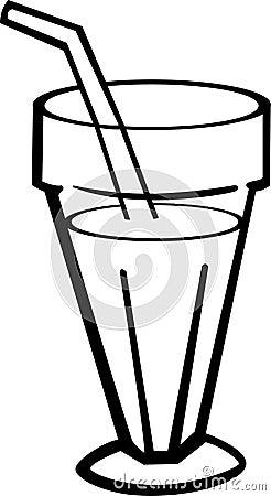 milk shake drink in glass vector illustration