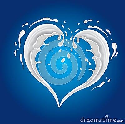 Free Milk Splash Shape Heart Royalty Free Stock Image - 44978266