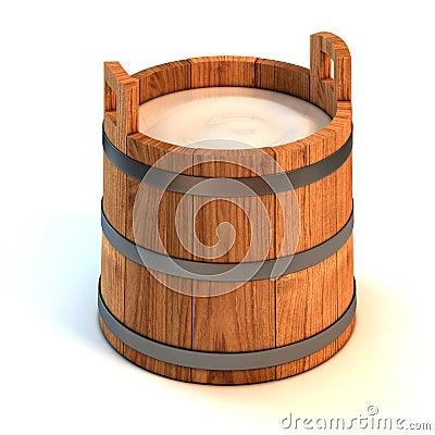 Milk wooden bucket