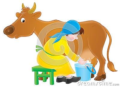 Milking dairymaid