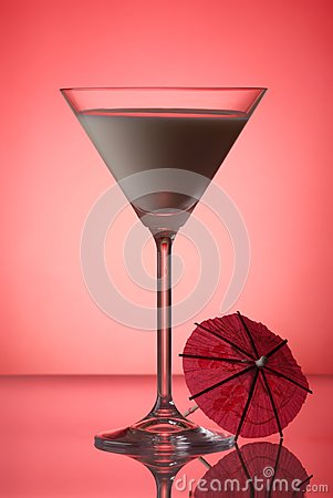 Milky cocktail with umbrella