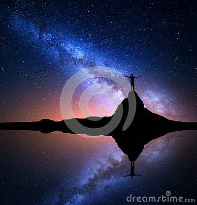Free Milky Way And Man On The Rock. Galaxy, Universe Stock Images - 81607234