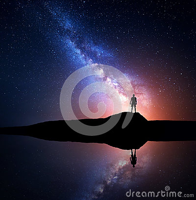 Free Milky Way And Silhouette Of A Standing Alone Man Stock Photo - 81645740