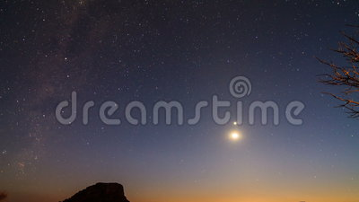 Milky way Timelapse. Beautiful full HD 30fps timelapse of the moon and venus followed by the Milky way, seen from Isalo, Madagascar