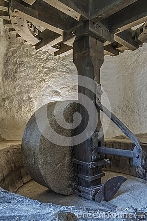 A mill wheel at an old olive mill in northern Corsica