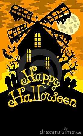 Free Mill With Happy Halloween Sign 2 Stock Photography - 15440672