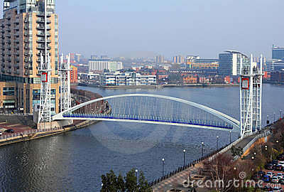 Millennium Bridge at Salford Quays Editorial Stock Image