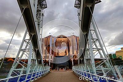 Millennium Bridge at Salford Quays in Manchester. Editorial Photography