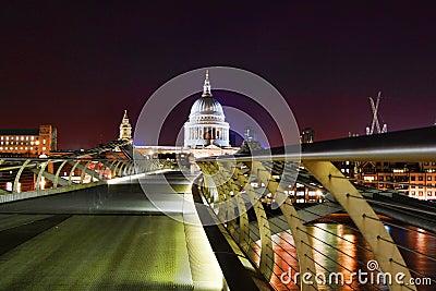 Millennium Bridge & St Paul s Cathedral at night