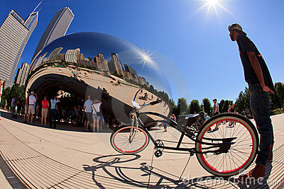 Millennium Park Chicago Fish Eye Editorial Photo